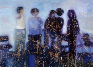 The Group Discusses, 2002 oil on linen 195 x300cm