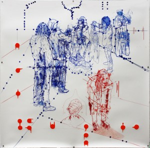 Atonal Group (Cannaregio 3), 2014 mixed media on paper 130 x130cm