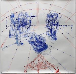 Atonal Group (Cannaregio 1), 2014 mixed media on paper 130 x130cm