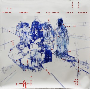 Atonal Group (Cannaregio 2), 2014 mixed media on paper 130 x130cm